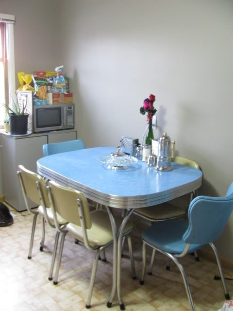 1950s Chrome Dining Set In Blue And, Vintage Chrome Dining Room Sets