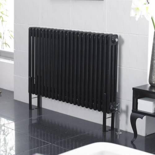 hudson reed klassiek design kolom radiator 1011 x 600mm 2002watt zwart hoogglans nieuw