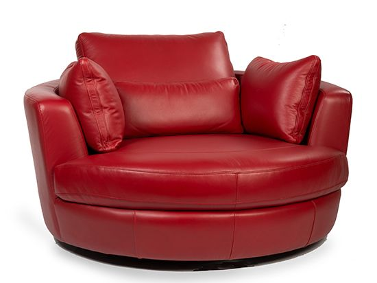 Copel Swivel Lounge Chair Red From Dania Furniture 1299 I Love The Look And Size Of This But Wish It Was In Fabric Not Leather Wi