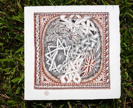 Zentangle victoria and albert museum inspiration tile by