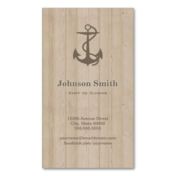 Chef de Cuisine - Nautical Anchor Wood Double-Sided Standard Business Cards (Pack Of 100). Make your own business card with this great design. All you need is to add your info to this template. Click the image to try it out!