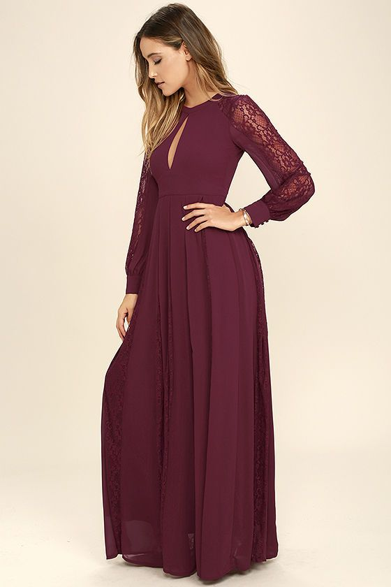 Red long sleeve dress maxi wore