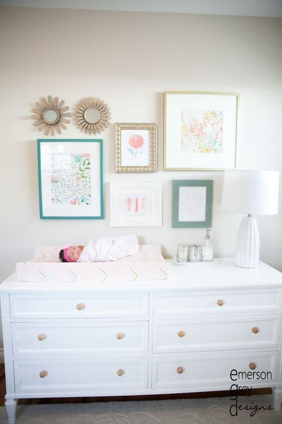 I love this, but navy and pale pink instead of coral and teal. Coral & Teal Nursery with pops of gold - so chic! #nursery