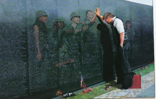 """Anthony - A powerful painting by Lee Teter titled """"Reflections"""" it was painted to comemerate those who died in the Vietnam War. It can be seen as the metaphorical illustration of life after death, and those who are remember and missed in passing."""