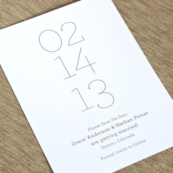 Nice and simple save the date card. Focused on the date. I might make the names a little bigger and the formal invite line a bit smaller...