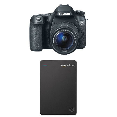 Canon EOS 70D Digital SLR Camera with 18-55mm STM Lens with Seagate 1TB Hard Drive and 1-Year Amazon Drive. Canon EOS 70D Digital SLR Camera with 18-55mm STM Lens. Seagate Duet Cloud-Syncing Portable External Hard Drive 1TB + 1-Year Unlimited Amazon Drive Plan (STFX1000400).