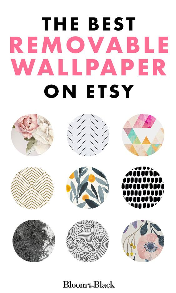 Removable wallpaper is so vesatile. Great for kids bedroom, bathrooms, guest bedrooms, living rooms, mudrooms, laundry rooms -- you name it! I searched Etsy and rounded up my top nine peel and stick wallpaper picks. I've included floral wallpaper, geometric wallpaper, and black and white wallpaper.