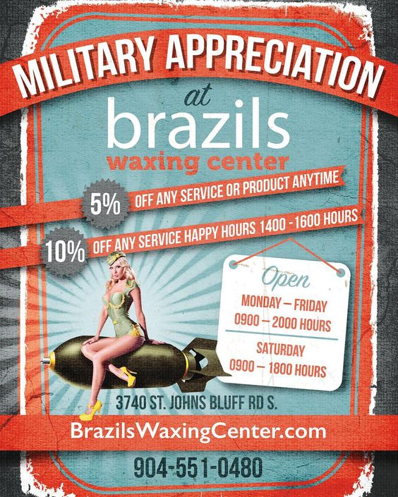 Bring in your military ID and get some special discounts only at Brazils! #jax #jacksonville #fl #florida #waxing #wax #eyebrowwax #legwax #eyebrows #brows #brazilianwaxing #brazilianwax #smooth #sexy #skin #beauty
