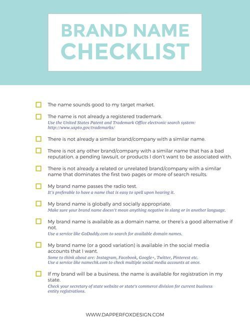 Brand Name Checklist How To Come Up With A Name For Your New Business Dapper Fox Design Branding Your Business Design Company Names Branding Website Design