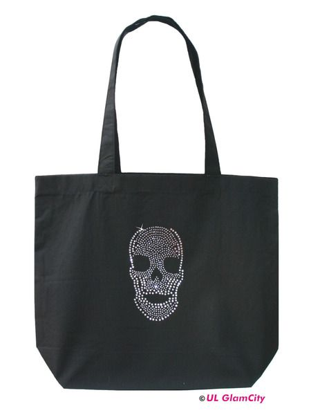 Tasche, schwarz, Totenkopf, Strass von U.L. GlamCity auf DaWanda.com