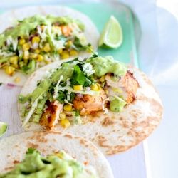 Fish Tacos with Grilled Corn Slaw and Avocado Coriander Lime Sauce {recipe}