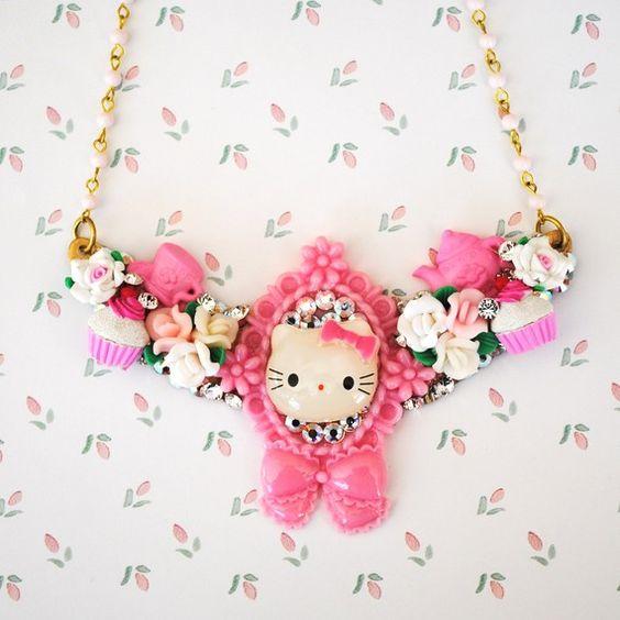 Swarovski Hello Kitty Bib Necklace http://www.etsy.com/shop/glamourpusscouture?ref=pr_shop
