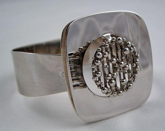 "Kollmar and Jourdan  Pforzheim Germany  Modernist sterling silver hinged bracelet  C. 1960's - 70's  Interior circumference - 7 1/4"""