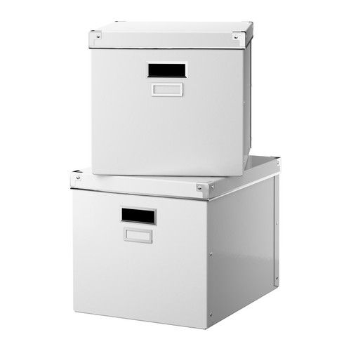 Ikea kassett magazine box with lid white 2 pack for Ikea paper storage
