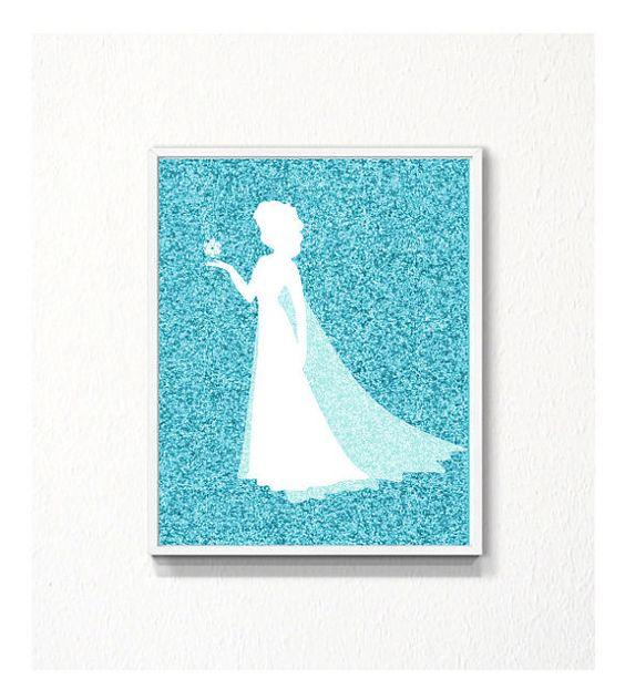 Disney Frozen Elsa silhouette glitter Art Print by myfavoritedecor