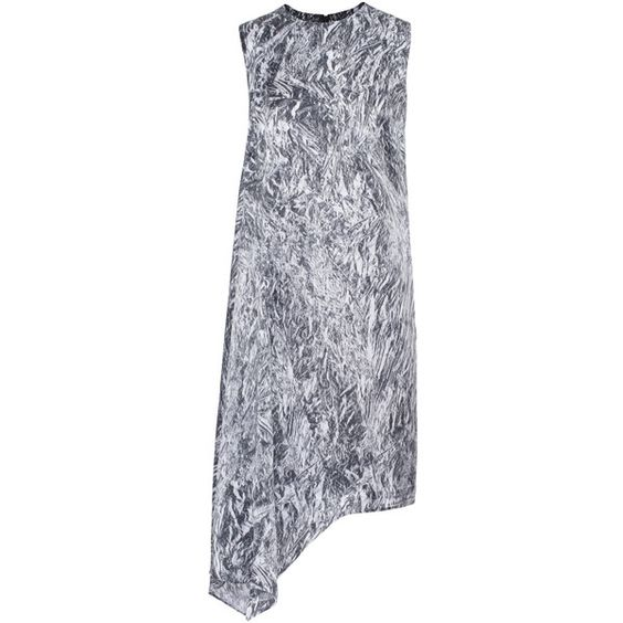 McQ by Alexander McQueen Asymmetric Shift Black White // Silk dress in... (880 RON) ❤ liked on Polyvore