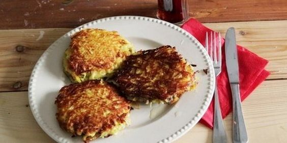 Potato pancakes with meat. Ingredients: 10-12 pcs potatoes, 1 onion, 300g minced beef + pork, 5 egg, 3-4 tablespoons flour, olive oil, spices (to taste). Directions: 1. Clean the potatoes and rub on a grater. 2. Grind the onion and add it to the meat. Also to add 2 eggs. 3. Stir and add salt and pepper to taste. Stir again. ...