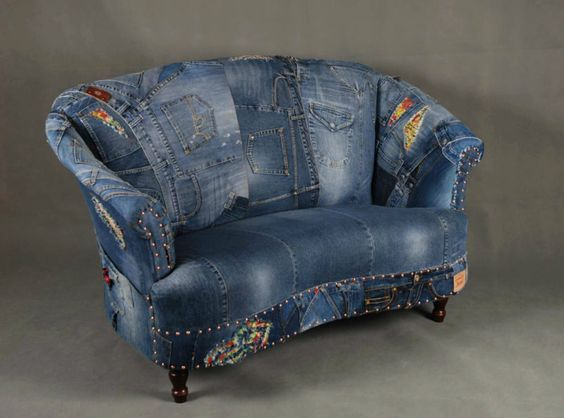 Jeans patchwork denim sofa chair armchair - London: