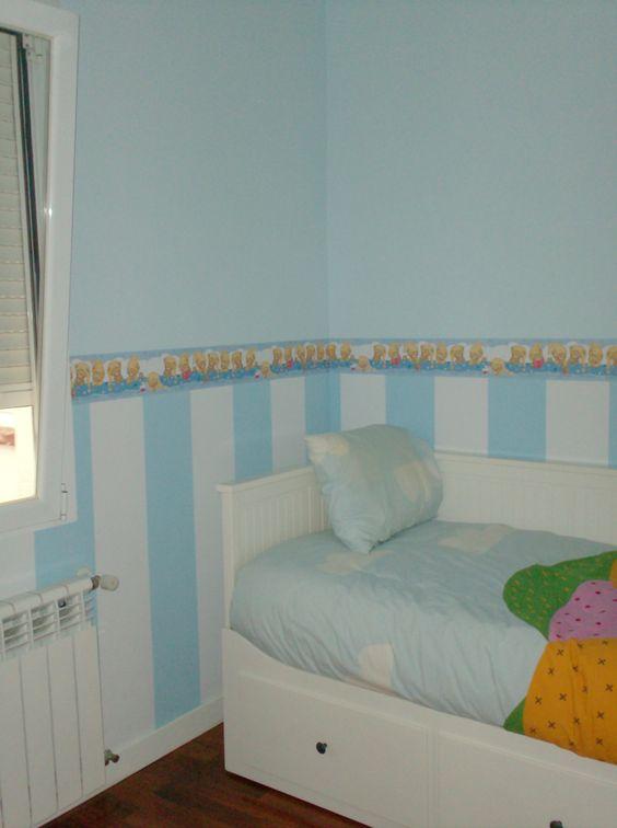 Decoracion infantil rayas dos colores y cenefa papel for Cenefas papel pintado
