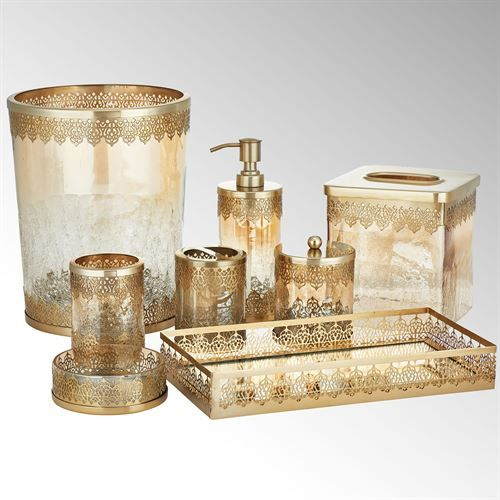 Ingrid Brushed Gold Metal And Glass Bath Accessories By J Queen New York Gold Bathroom Accessories Bath Accessories Queens New York