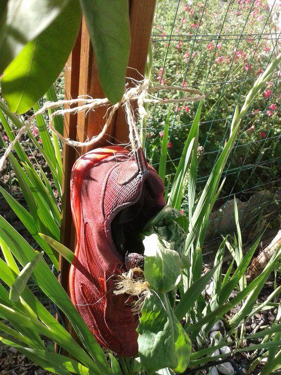 objet d tourner et voila un joli pot de fleur original chaussure bomber en rouge puis rempli de. Black Bedroom Furniture Sets. Home Design Ideas