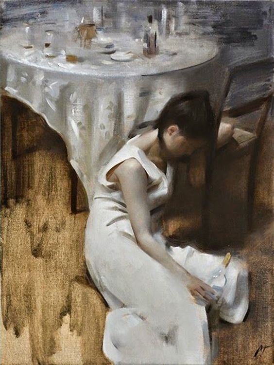 Artist: Nick Alm {contemporary figurative #impressionist female sitting on floor with alcohol bottle woman painting}