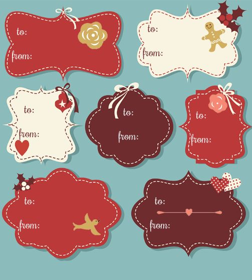 Vintage Christmas Gift Tags. So pretty. Just buy some sticky ...