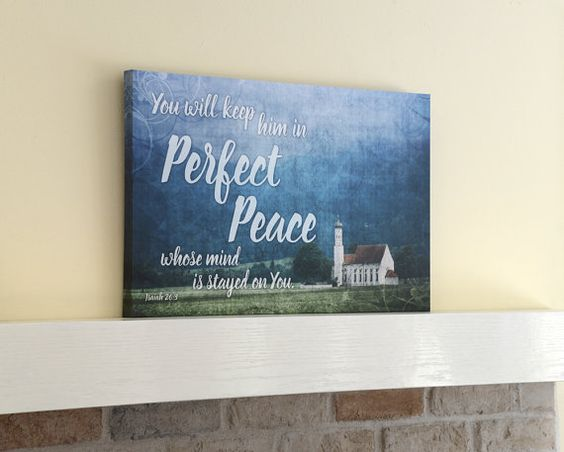 Perfect Peace, Isaiah 263, Christian Wall Art, Bible verse art, Canvas Wrap wall art, Scripture art, Scripture wall art, Christian Art