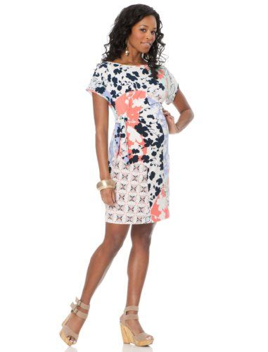 A Pea in the Pod: Donna Morgan Short Sleeve Side Tie Maternity Dress