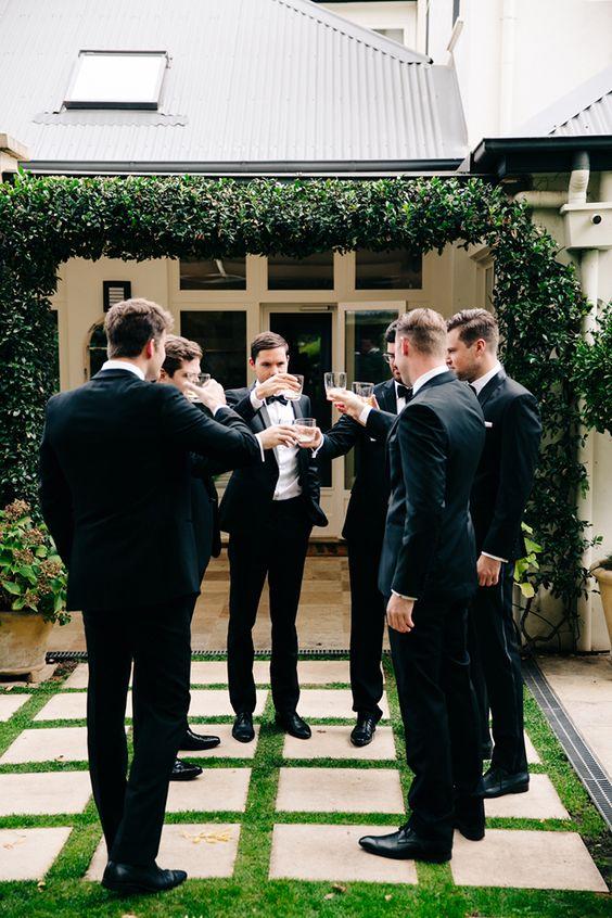 Groomsmen Photo on the Patio Inspiration, Wedding Venue, Lorien Hotel & Spa, Old Town Alexandria, Virginia: