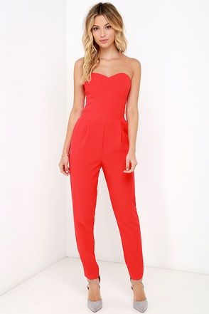 Electric Boogaloo Red Strapless Jumpsuit | Strapless jumpsuit ...