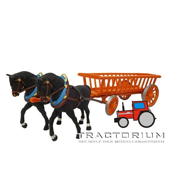 Hausser Elastolin 4402 Pferdegespann mit Leiterwagen 1/32