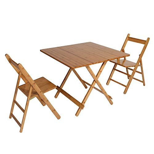 Unicoo Bamboo Square Folding Table Folding Deck Table 5 Piece Card Table Patio Table Dining Table And Chairs Deck Table Dining Table Chairs Card Table Set