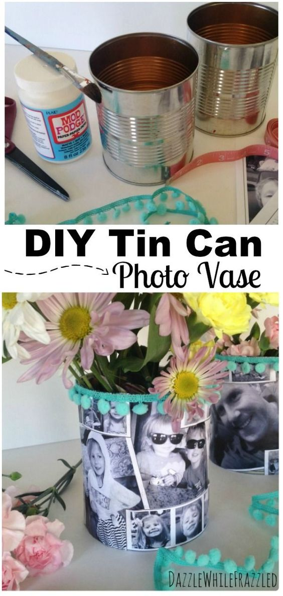 DIY Mother's Day Tin Can Photo Vase, Handmade Mother's Day Gifts, Crafts for Kids to Make, DIY Flower Vases, Tin Can Crafts #mothersday #mothersdaygift #tincancrafts #craftsforkids
