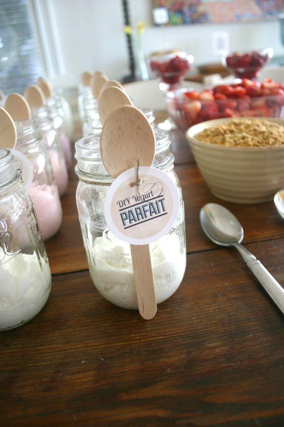 Champagne Brunch DIY Yogurt Parfaits. Yogurt, granola and mixed berries
