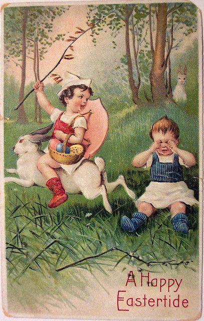 Psycho vintage Easter card: