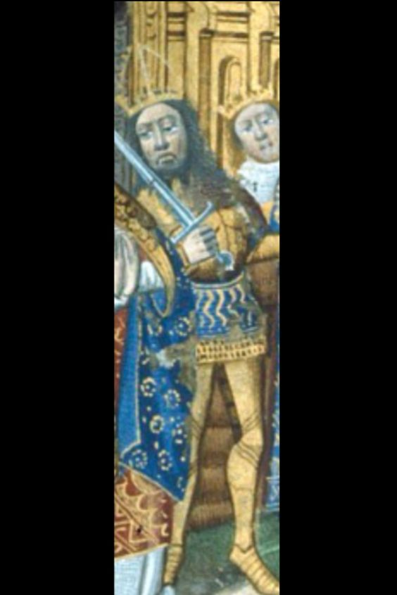"""Emperor Fredrick III from The Book of hours origin Paris, France circa 1480 -1490, partial of the miniature """"The Three Living and the Three Dead.  Frederick III (21 September 1415 – 19 August 1493), called the Peaceful, was the Holy Roman Emperor from 1452 until his death. Prior to his imperial coronation, he was hereditary Duke of Austria (as Frederick V) from 1424 and elected King of Germany (as Frederick IV) from 1440. He was the first emperor of the House of Habsburg."""