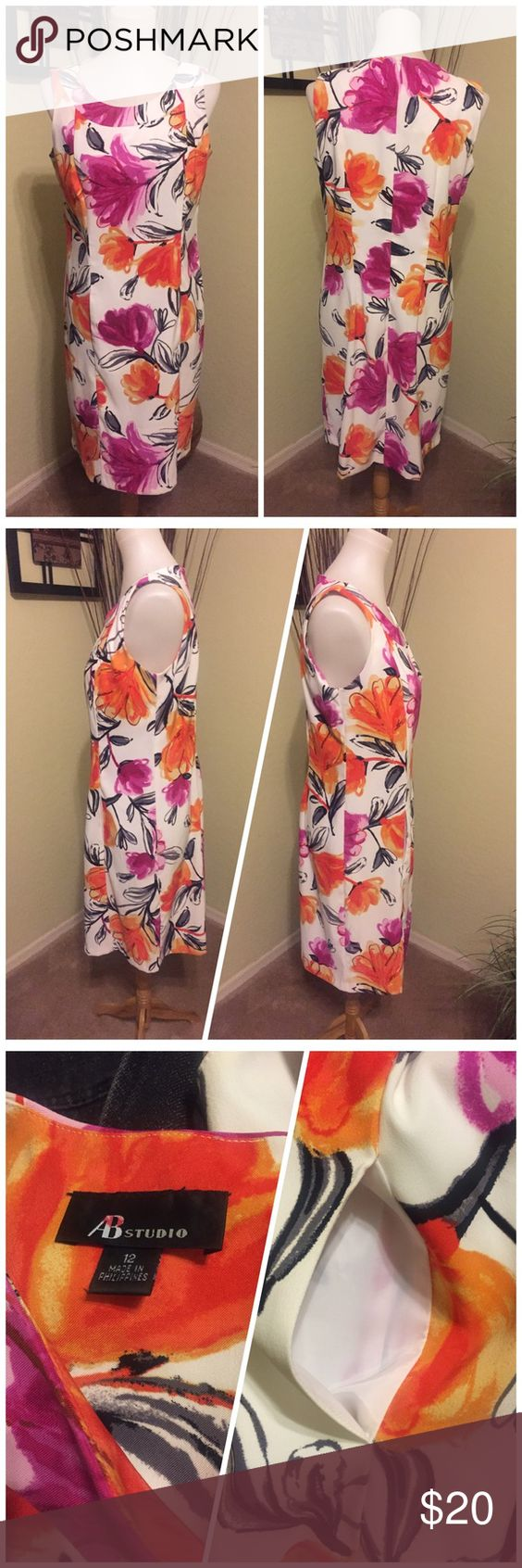 AB Studio Floral Dress 12 Beautiful dress with pockets and large purple and orange flowers on white background.  Perfect for summer!! AB Studio Dresses