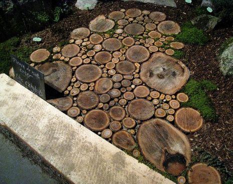 walkway made of wood slices.