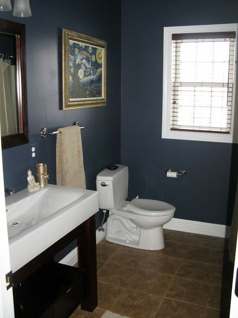 Bathroom Ideas How Much Does It Cost To Remodel A Small Bathroom Smallbathroomideas Bathroomdesignideas Blue Bathroom Walls Blue Bathroom Navy Blue Bathrooms