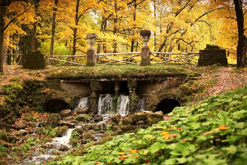 Bridge and waterfall in Pavlovsk
