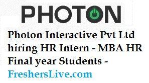 Photoninteractive Pvt Ltd Hiring Hr Intern  Mba Hr Final Year