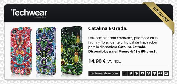 Una combinación cromática, plasmada en la fauna y flora, fuente principal de inspiración para la diseñadora Catalina Estrada.  Carcasas disponibles para iPhone 4/4S y iPhone 5.  PRECIO   $14.90