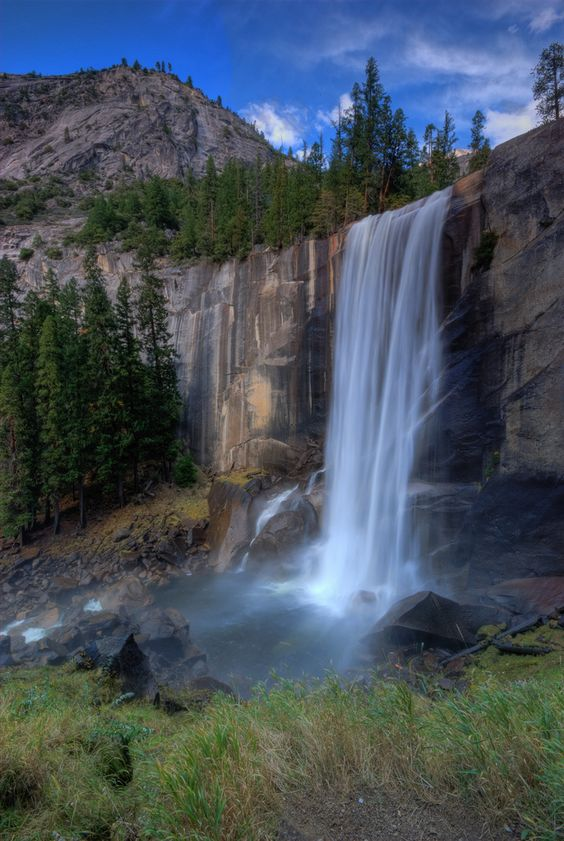 Vernal Fall from Mist Trail in Yosemite National Park. I swam at the top of this!!