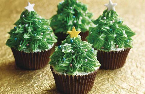 Christmas tree cupcakes