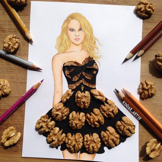 09-Walnuts-Edgar-Artis-Drink-Food-Art-Dresses-and-Gowns-Drawings-www-designstack-co