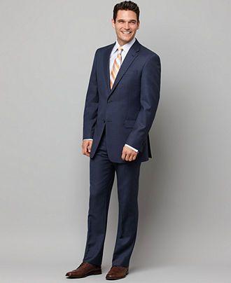 Tommy Hilfiger Suit Separates, Navy Sharkskin Slim Fit - Mens