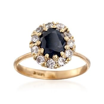 C. 1980 Vintage 1.25 Carat Sapphire and .50 ct. t.w. Diamond Ring in 14kt Yellow Gold. Size 6