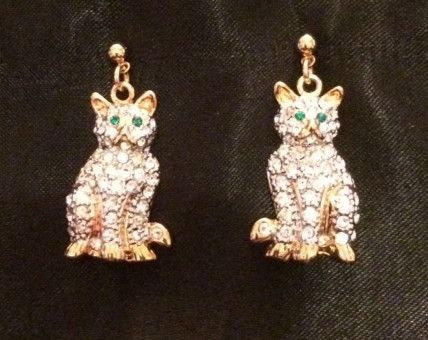 Cat earrings, cats sitting - Rhinestones with gold accents and green eyes.  For pierced ears.