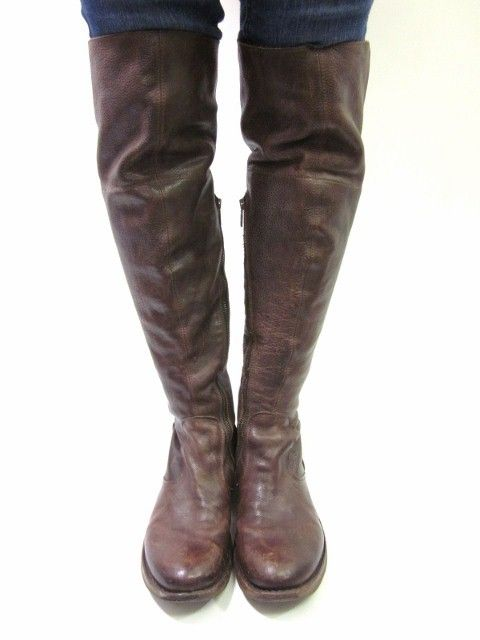 FIORENTINI BAKER Dark Brown Leather Over the Knee Western Boots Sz ...